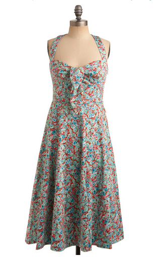 London Times, Red Aqua Sundress: Rose-merry Making Dress